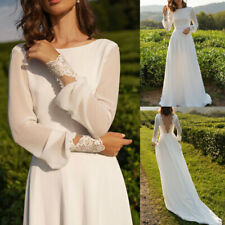 Simple Chiffon Backless Wedding Dresses Long Sleeves A-line Sweep Train Gown