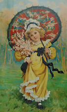 19c Antique Victorian Print of Little Girl Child w/ Pink Flowers & Red Parasol