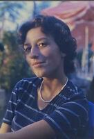Vintage Photo Slide 1990s Pretty Woman Posed Sunlight Outside Short Hair