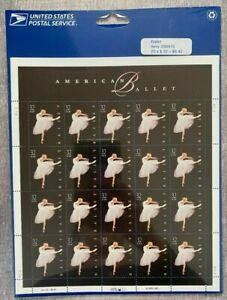 "SHEET OF 20 ""AMERICAN BALLET"" 32 CENT STAMPS - 1998 - SCOTT #3237 Sealed in Pkg."