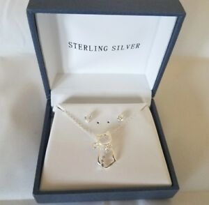 Kitty Necklace in Sterling Silver with CZ Detail + CZ Stud Earrings