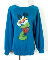 vtg 80s 90s retro Hand Painted Mickey Mouse With Shades Sweatshirt Raglan sz XL