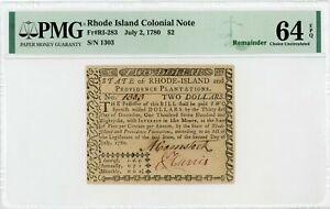 (RI-283) July 2, 1780 $2 RHODE ISLAND Colonial Currency Note - PMG Ch.CU 64 EPQ
