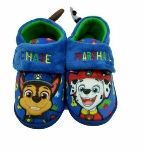 Boys Kids Paw Patrol 3D Slippers Size 6-12 Chase Marshall Easy Fasten Strap
