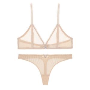 Varsbaby Wireless See-through Bra Thong Set Sexy Mesh Underwear