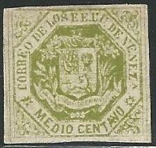 Venezuela: 1865; Scott 016, 1/2 cent, green no gum, unused. EBV385