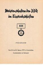 Programmheft XXX. Meisterschaften DDR Eisstockschießen 1979 Crimmitschau GDR