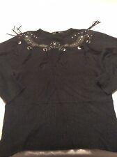 Vintage I B Diffusion Silk Angora Nylon Blend Black Western Design Sweater L