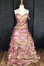 JOVANI NWT Rose Gold Strapless Gown Beaded Prom Pageant Quinceanera Formal Sz 10