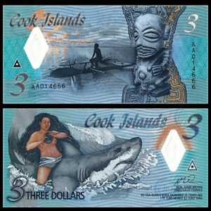 Cook Islands 3 Dollars, 2021, P-New3, Prefix AA, UNC