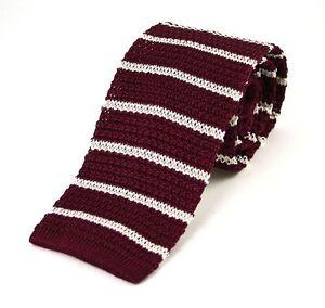 Men's Burgundy Silk Knitted Tie Wth Medium White Stripe (N997/59)