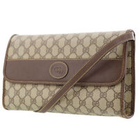 GUCCI GG Plus Shoulder Bag Brown PVC Leather Vintage Italy Authentic #AB928 Y