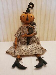 Primitive Grungy Pumpkin Lady Halloween Doll & Her Crow