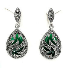WOW! NATURAL SWISS MARCASITE, GREEN SYNTHETIC STONE STERLING 925 SILVER EARRINGS