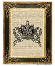 Crown #1 Art Print on Vintage Book Page Royal Home Nursery Hanging Decor Gifts