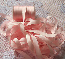 "100%PURE SILK EMBROIDERY RIBBON 1/4""[7 MM] PEACHY/PINK  10 YRDS [2] 5 yd CARDS"