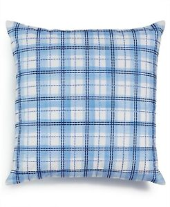 """Charter Club 18"""" Square Decorative Pillow Damask Designs Embroidered BLUE 158"""
