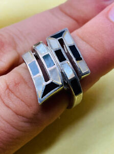 Silver ring UK size L with mop and black enamel