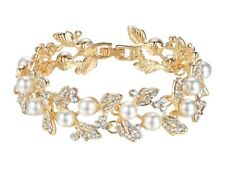 Bridal Wedding Party Luxury Crystal Pearl Gold Bracelet Jewellery