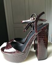 Office London Ladies Women Platform High Heel Shoe Sandal Burgundy Size 7 40