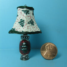 Dollhouse Miniature Christmas Tree Lamp with Fabric Shade Unique Handcrafted