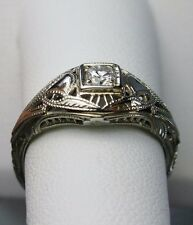 Gorgeous! Antique Art Deco 1920's/1930's Filigree White Gold 18k Diamond Ring