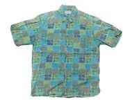 LL Bean Mens Medium Green Hawaiian Floral Collared Short Sleeve Button Up Shirt