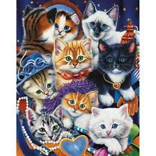 DIY Full 5D Diamond-Painting Embroidery 8 Cats Family Cross Craft Leisure