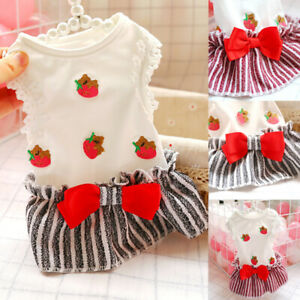 Pet Small Puppy Dog Strawberry Dress Lace Skirt Cat Dress Clothes Apparel Cute