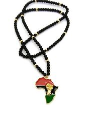 """RC2443 NEW FIST POWER AFRICA PENDANT /& 30/"""" WOODEN BEAD CHAIN HIP HOP NECKLACES"""