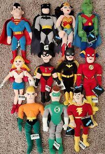"1999 Warner Brothers Studio Store 10"" DC Comics Bean Bag lot Superman Batman"