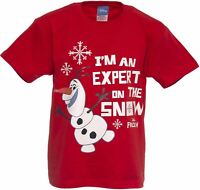 Disney Frozen Olaf T-shirt EXPERT ON THE SNOW Age 5-6 Years RED Kids Tee shirt