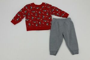 Garanimals Baby Boys Two Piece Sweat Pant Outfit 12 Months Red Grey Dinosaur