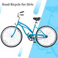 "26"" Classic Womens Bike Beach CruiserSingle Speed Road Bicycle Lightweight Blue"