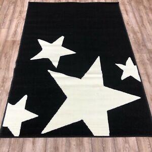 Quality black cream star Rug 120cm x 170cm kids bedroom lounge Print (641)