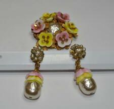 MIRIAM HASKELL DEMI PARURE BROOCH&CLIP-ON EARRINGS PEARLS FLORAL GORGEOUS VINTAG
