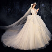 Elegant lace wedding dress chapel full-length ball gown bridal gown corset