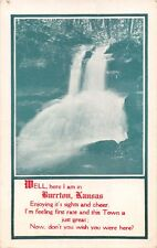 BURRTON KANSAS WATERFALLS~HERE I AM POEM POSTCARD 1911