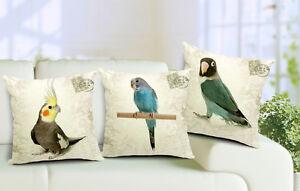 Cotton Linen Cushion Cover  Pillow Case Bird Parrot Cockatiel/Budgie/Rosella