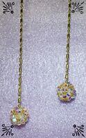 Handcrafted Disco Bar Ball Fan Pull Gold Made W Swarovski Crystal ABx2 Bicones