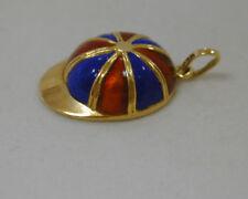 VINTAGE 18K YELLOW GOLD BLUE & RED ENAMEL JOCKEY'S CAP CHARM~ITALY~EQUESTRIAN