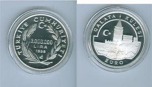 "Türkei 3.000.000 Lira 1998 Bastionsturm ""Galata Kulesi""  Ag PP  Nur 1.587 Stück!"