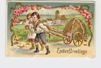 PPC POSTCARD EASTER GREETINGS BOY AND GIRL PULL CART WITH LARGE EGG GOLD EMBOSSE