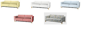 IKEA Karlstad Sofabed SLIPCOVER, Sivik Yellow, Rannebo Red/White, NEW
