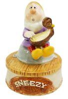 Schmid Disney Snow White Sneezy Porcelain Rotating Music Box Figurine