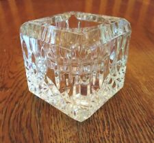 Signed Waterford Crystal Lismore Square Votive Taper Candle Holder
