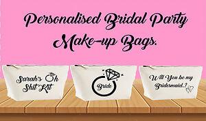 Personalised Make Up Accessory Bag Wedding Bridal Party Brides Bag Bridesmaids