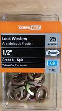 "Crown Bolt 1/2"" Lock Washers (25-Pack) Yellow Zinc-Plated Grade 8 Split 31462"