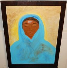 INDIAN WOMAN IN BLUE ORIGINAL OIL ON CANVAS PAINTING SIGNED ON BACK NROB