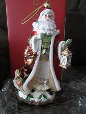 FITZ and FLOYD $60 Large Crimson Holiday Santa Glass Christmas Ornament NIB